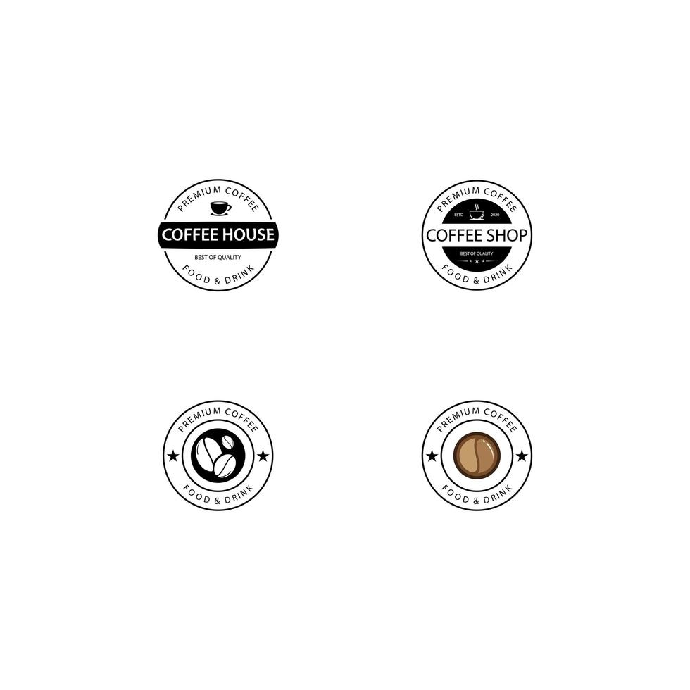 kafé emblem malluppsättning vektor