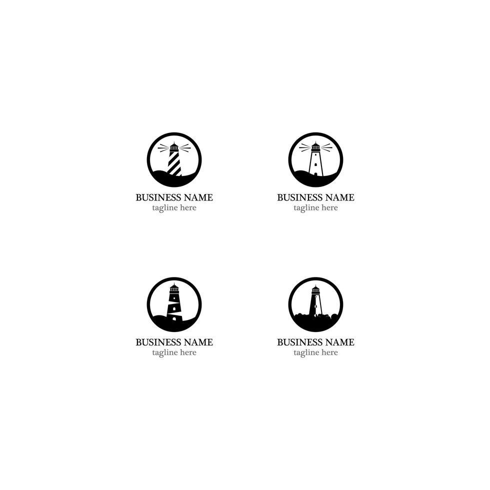 Leuchtturm Icon Template Set vektor