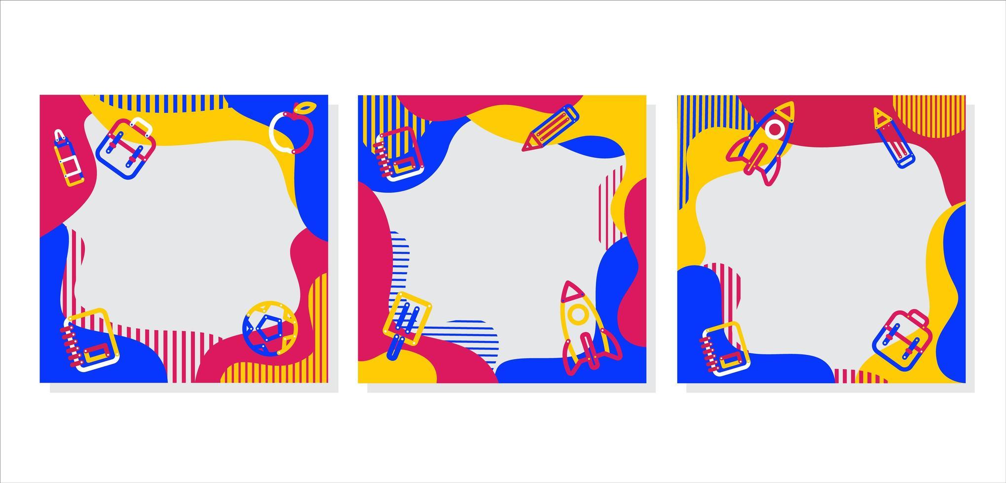 färgglada mönster och leveranser tillbaka till skolramar vektor