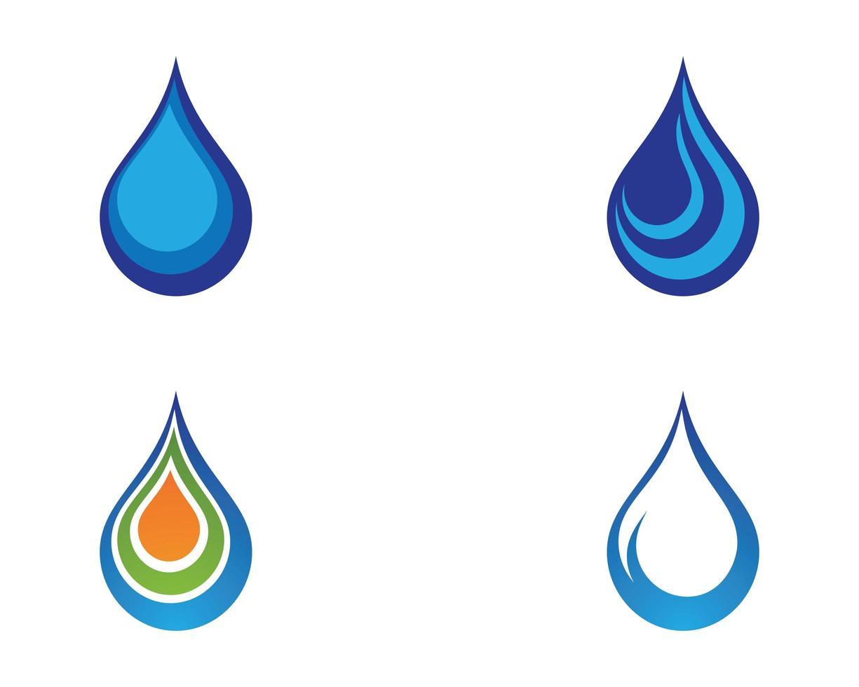 vattendroppe blå Ikonuppsättning vektor
