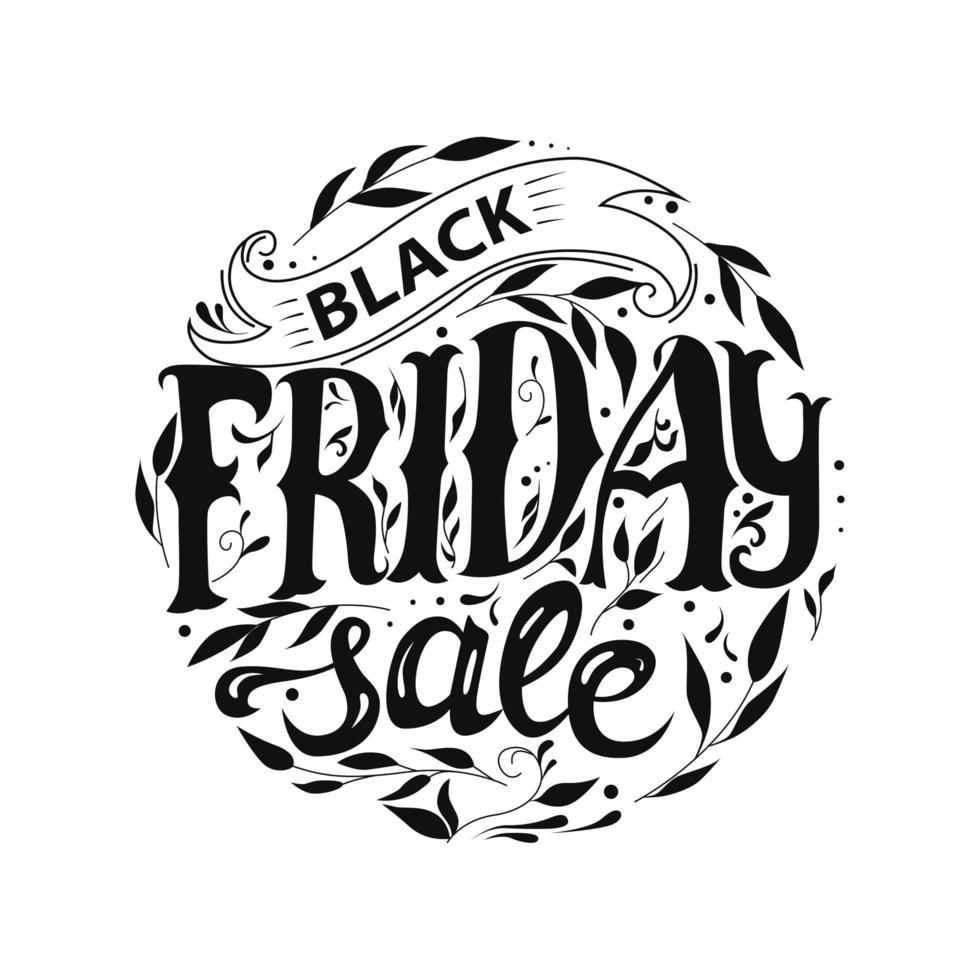 svart fredag försäljning rund design vektor
