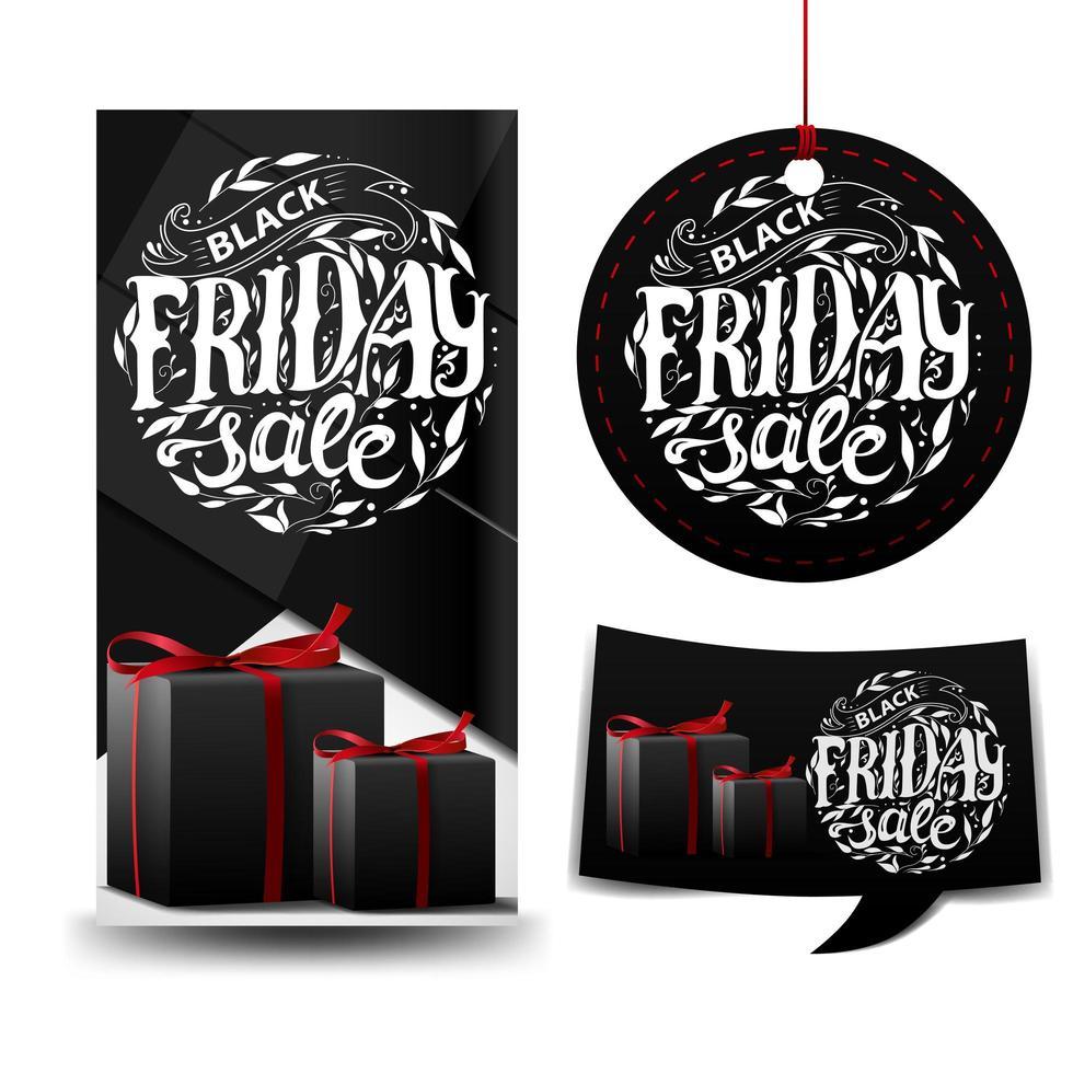 svart fredag försäljning svart fyrkantig samling vektor