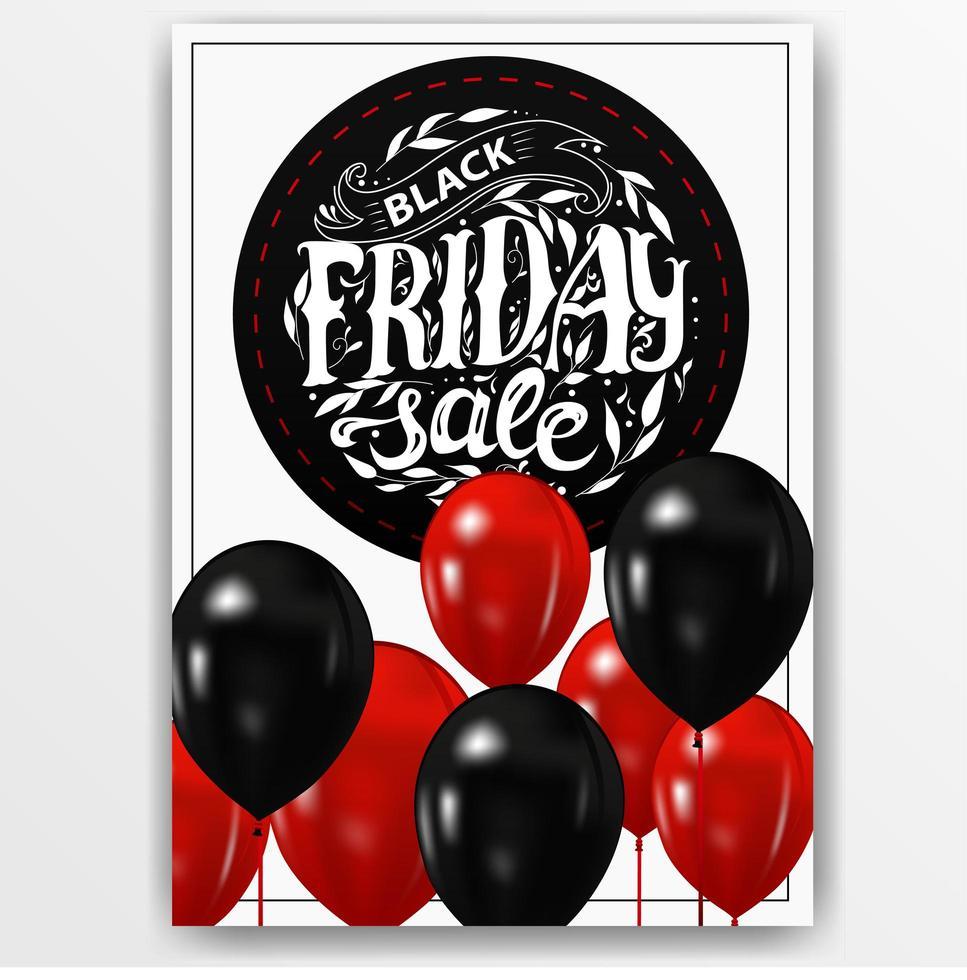 svart fredag vertikalt tecken med ballonger vektor
