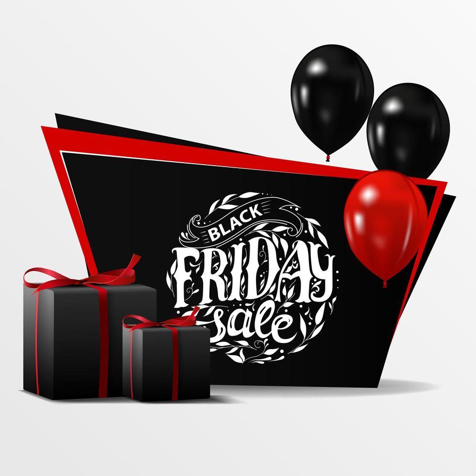 svart fredag försäljning rabatt banner med ballonger vektor