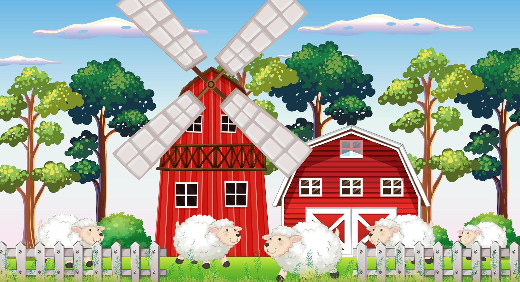 Bauernhofszene in der Natur mit Scheune vektor