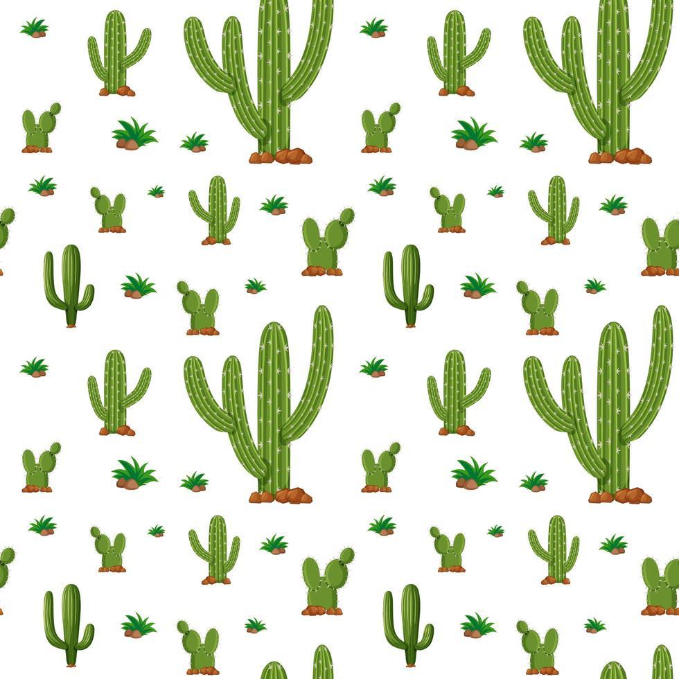 nahtloser Hintergrund mit Kaktuspflanzen vektor