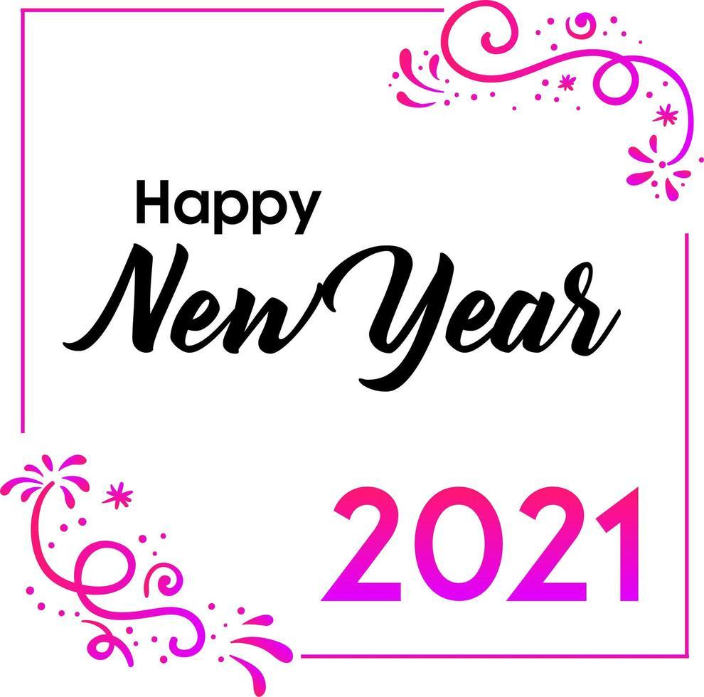 gott nytt år 2021 hälsning med blommstil vektor