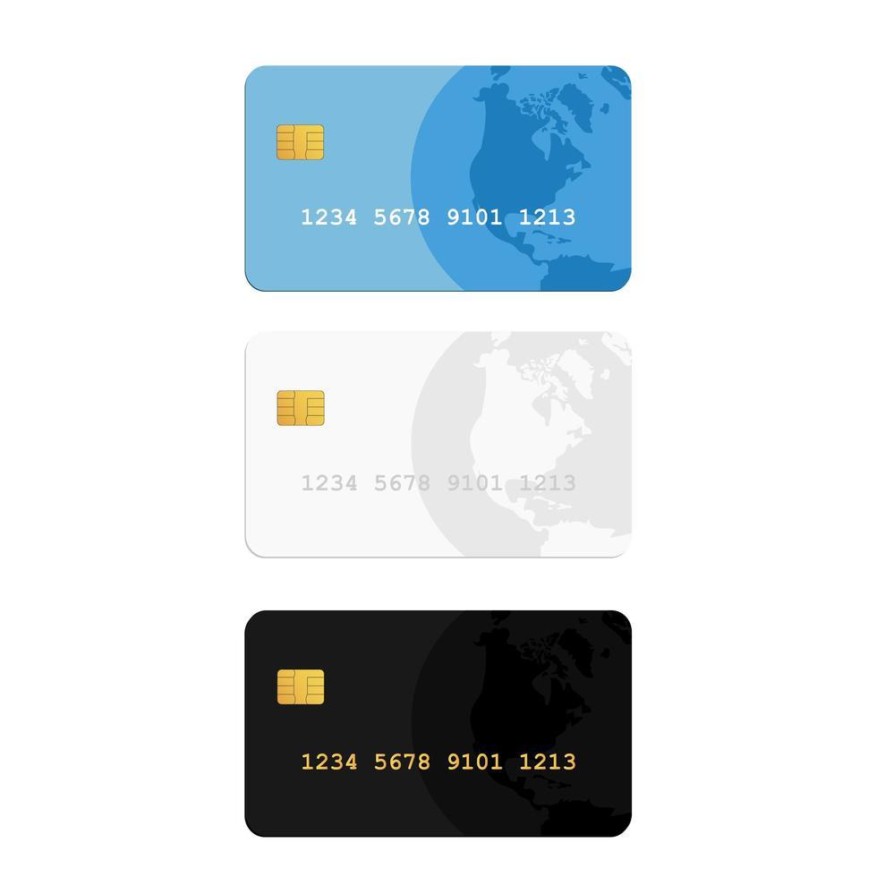 kreditkort i blått, vitt och svart vektor
