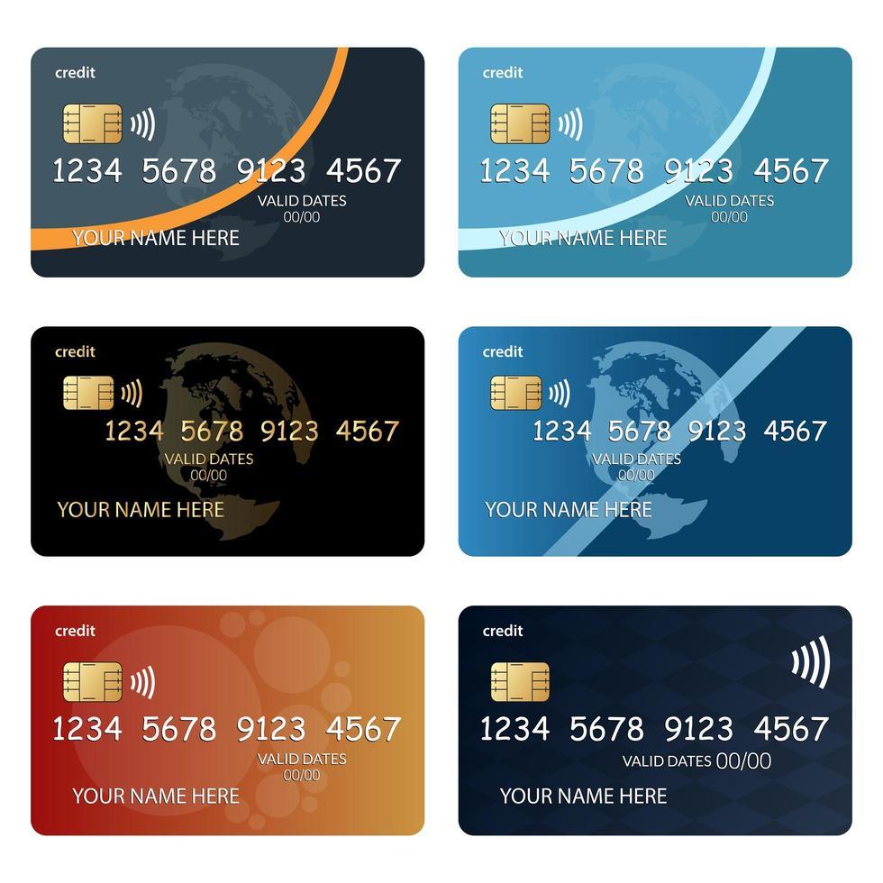 uppsättning kreditkort vektor