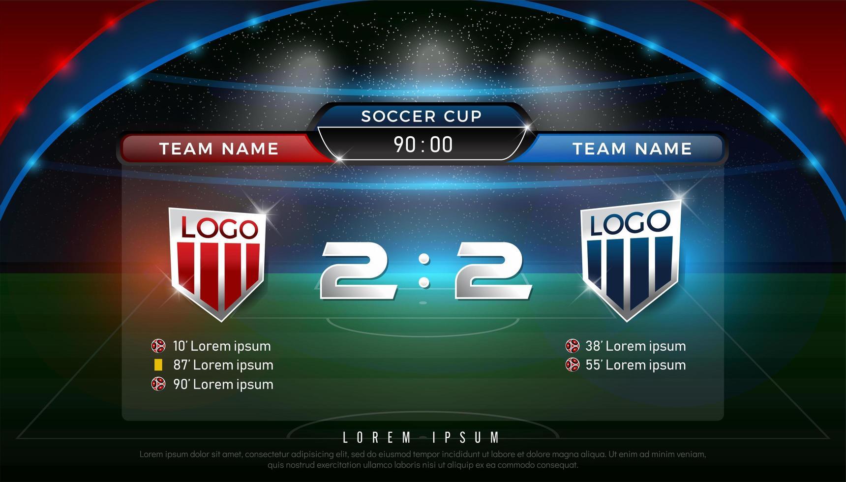 fotboll resultattavla team a vs lag b sändningsmall vektor