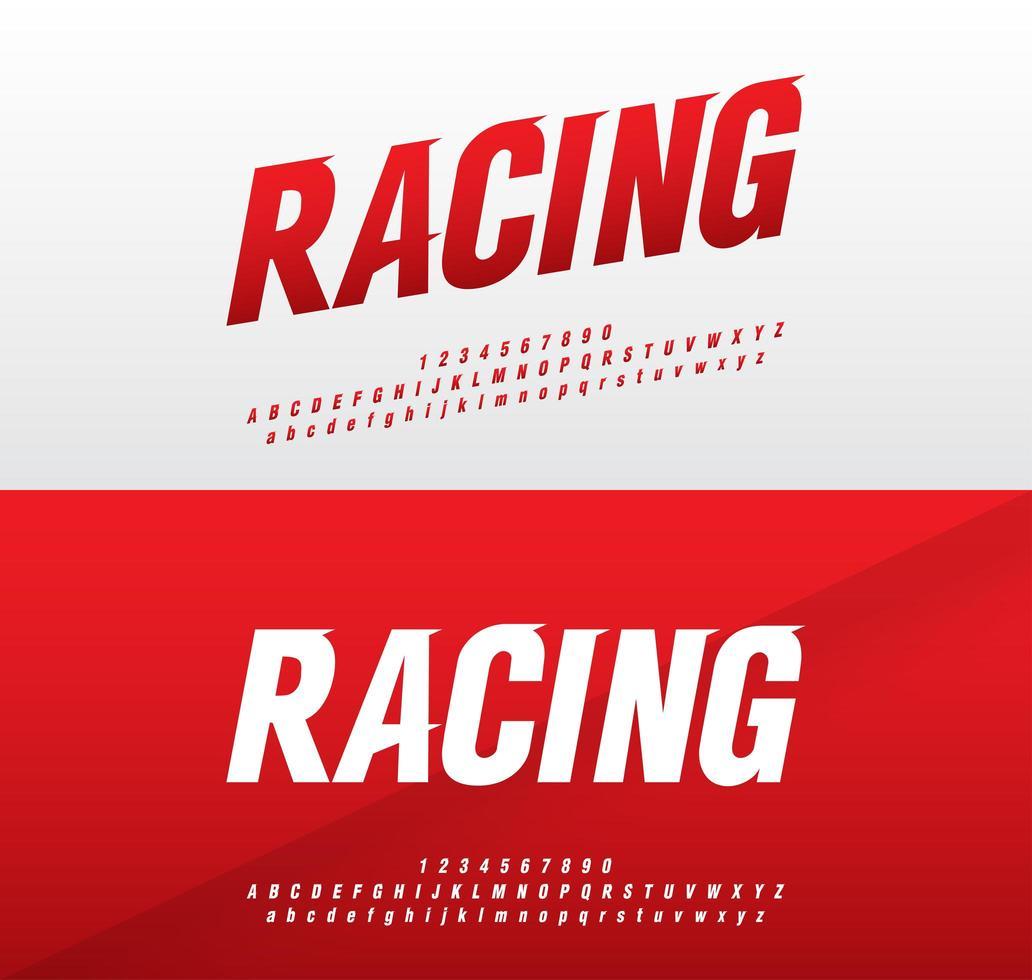 Rot und Weiß Sport moderne Schriftart gesetzt vektor