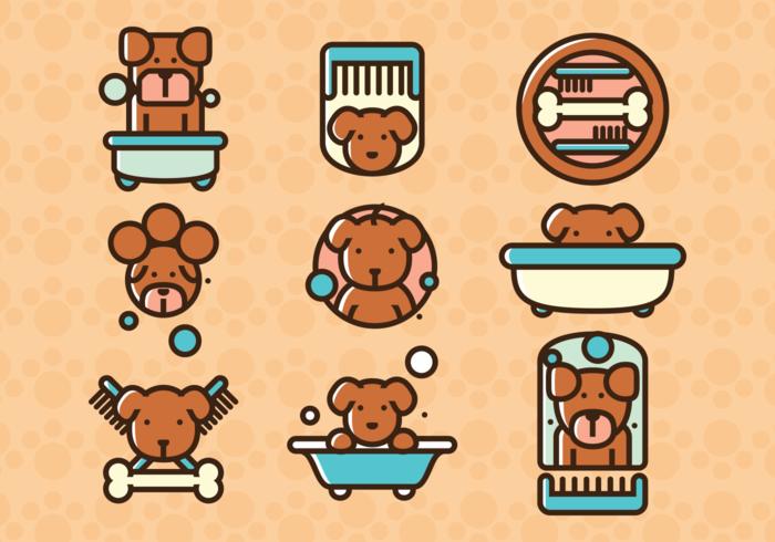 Vektor Illustration Hund Tvätt