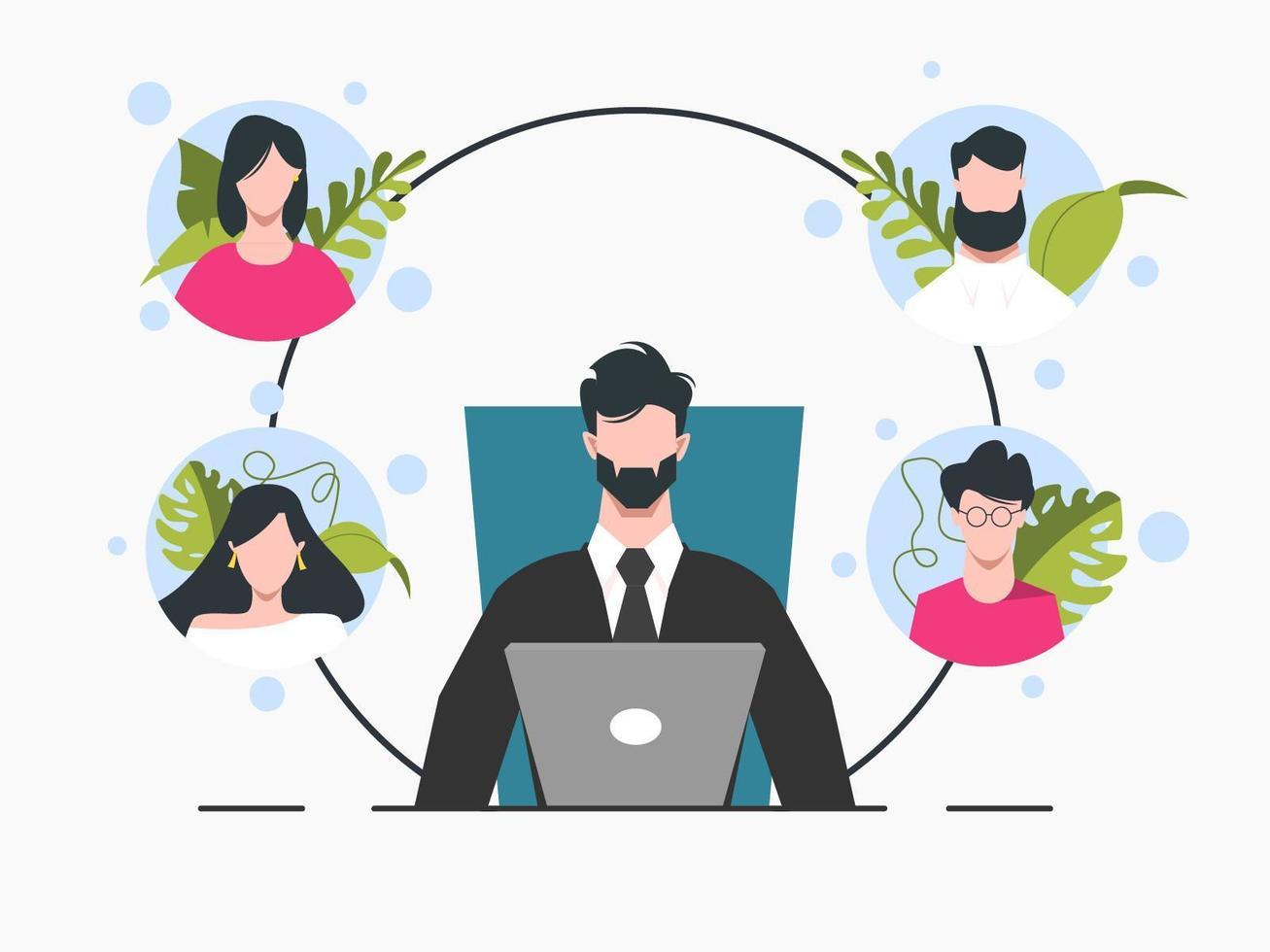 affärsman på bärbara datorn i möte med avatarer vektor