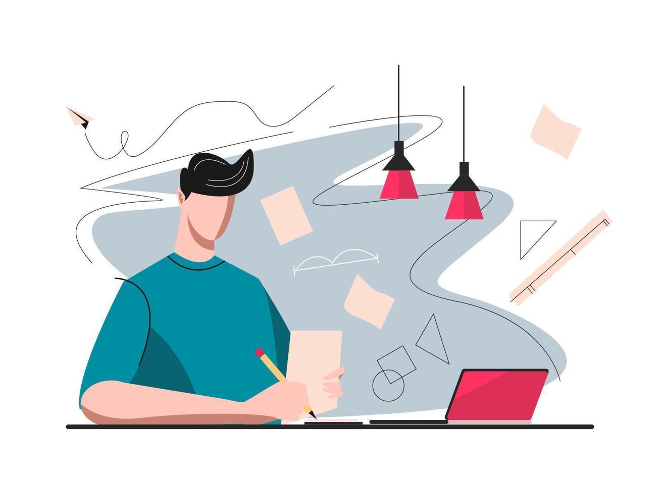 studera och lära sig online koncept vektor