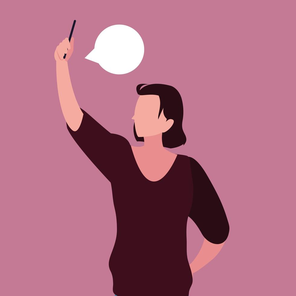 person som tar selfie med smartphone med pratbubblan vektor