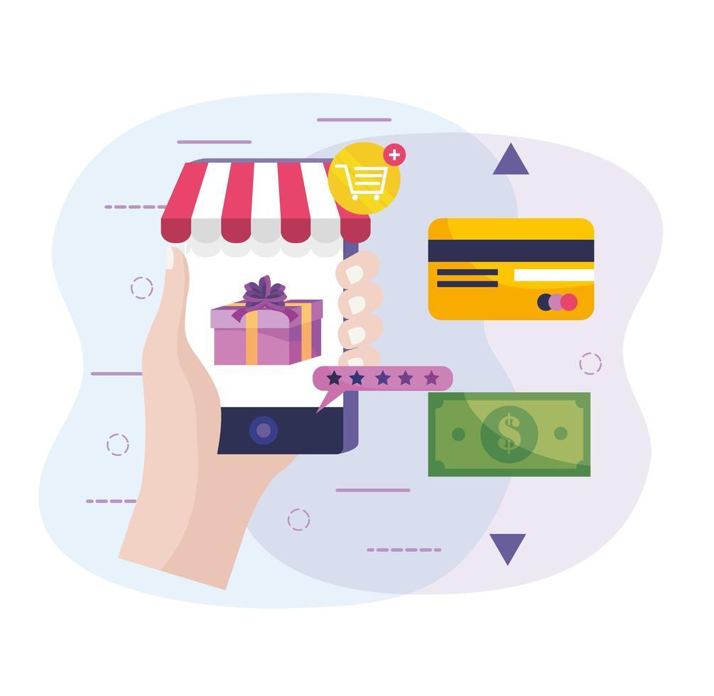 e-handel och teknologidesign med handhållen smartphone vektor