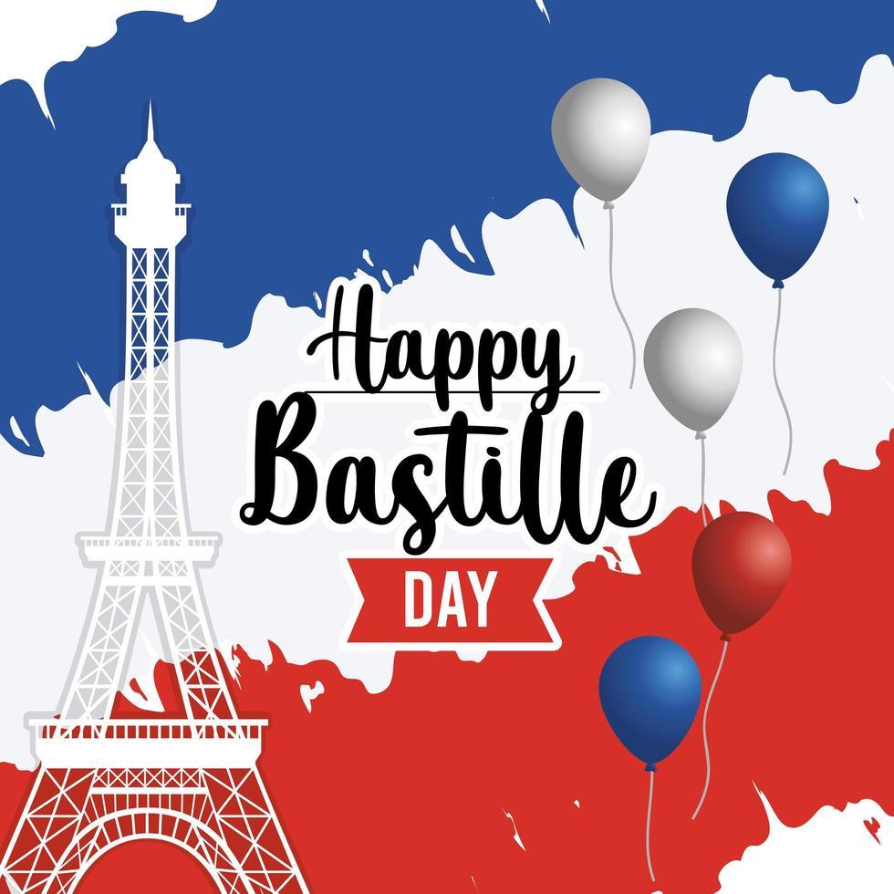 Bastille Urlaub Grußkarte vektor