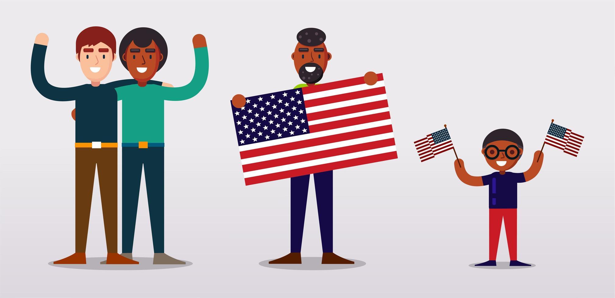 människor som håller usa flaggor, står bredvid varandra vektor