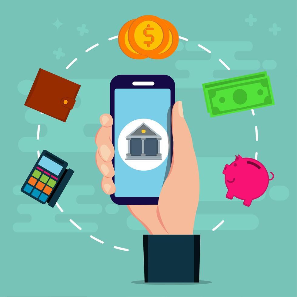Online-Banking mit einer Hand, die ein Smartphone hält vektor