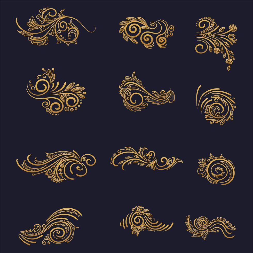 künstlerisches goldenes Blumendekorationsset vektor