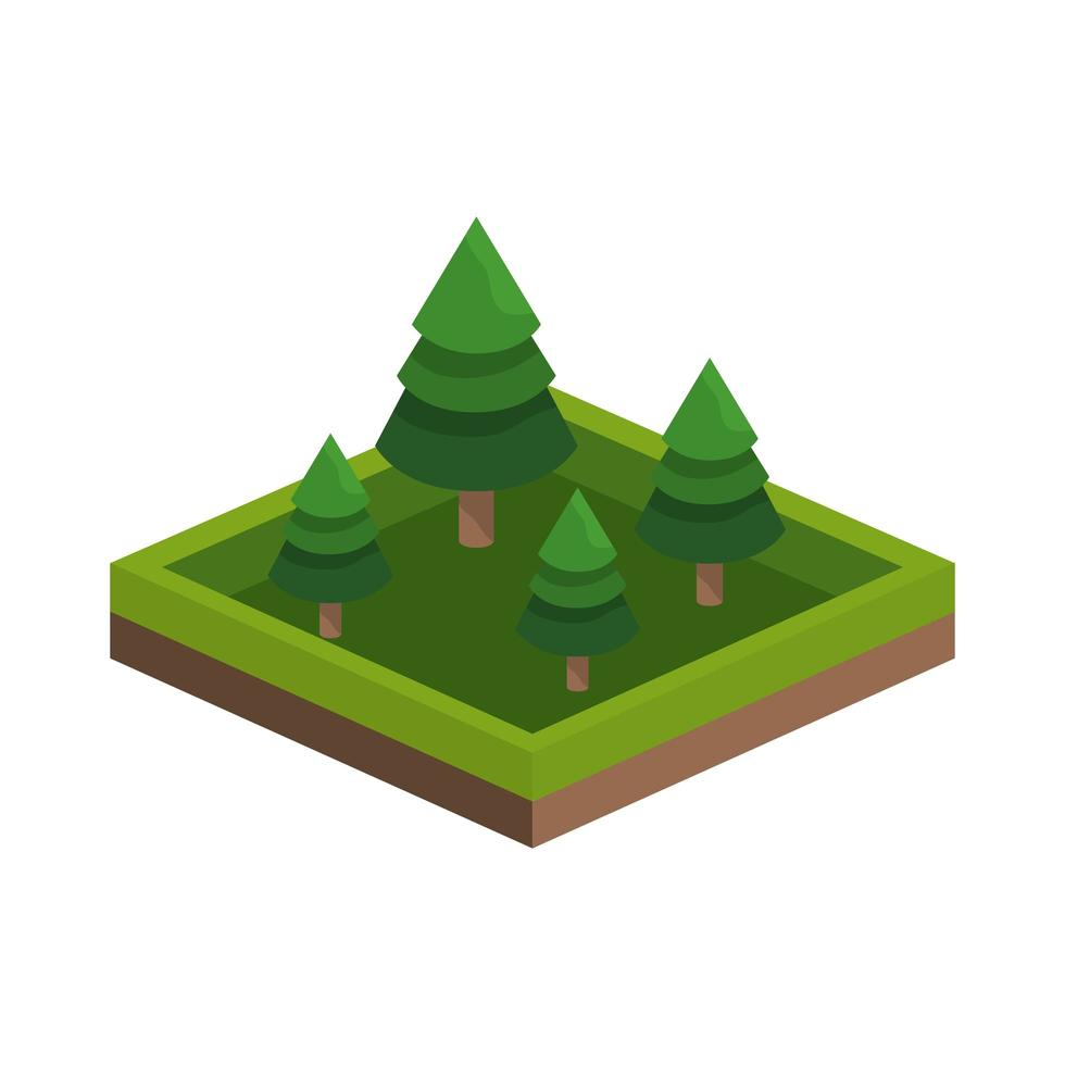 isometriska träd fyrkantig ikon vektor