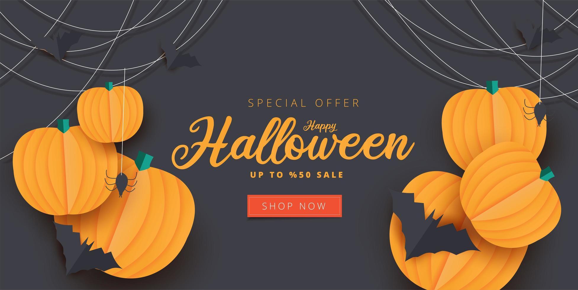 papper konst halloween pumpa, bat och spindel försäljning banner vektor
