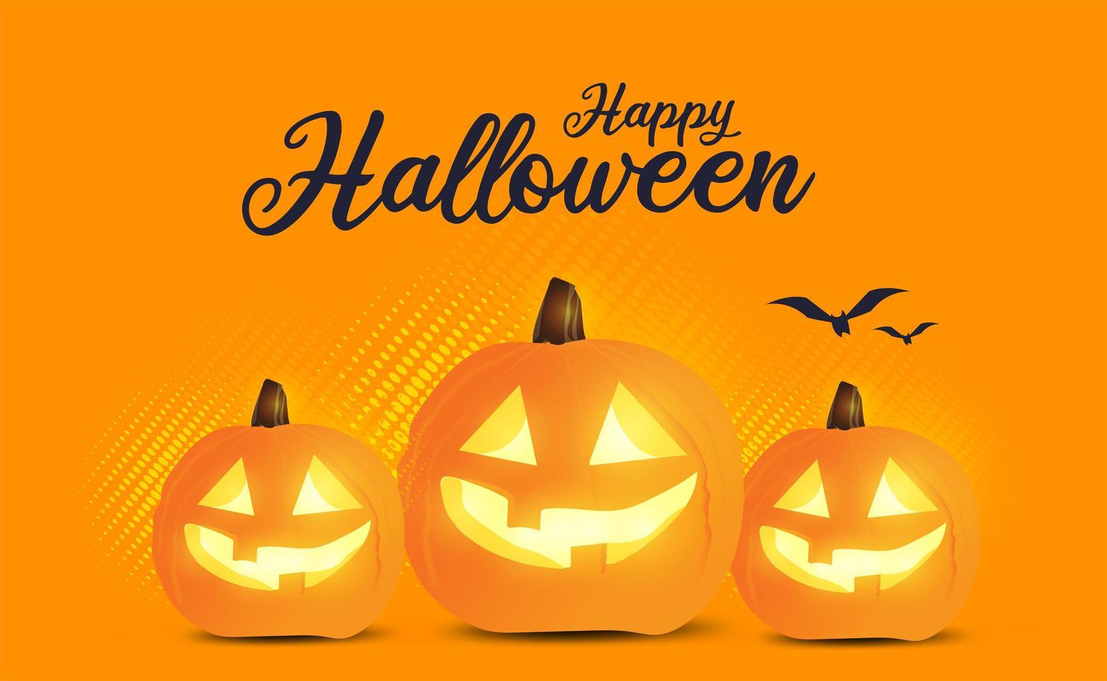 orange halloween försäljningsaffisch med jack-o-lyktor vektor