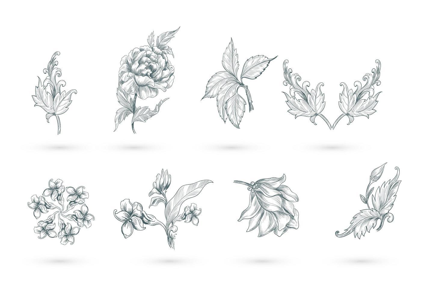 abstrakt konstnärlig blommig uppsättning vektor