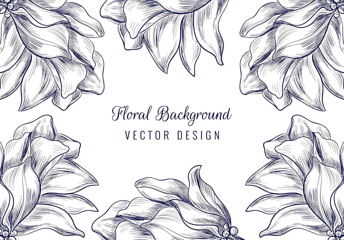 handgezeichnete Verzierung Blumenblütenrahmen vektor