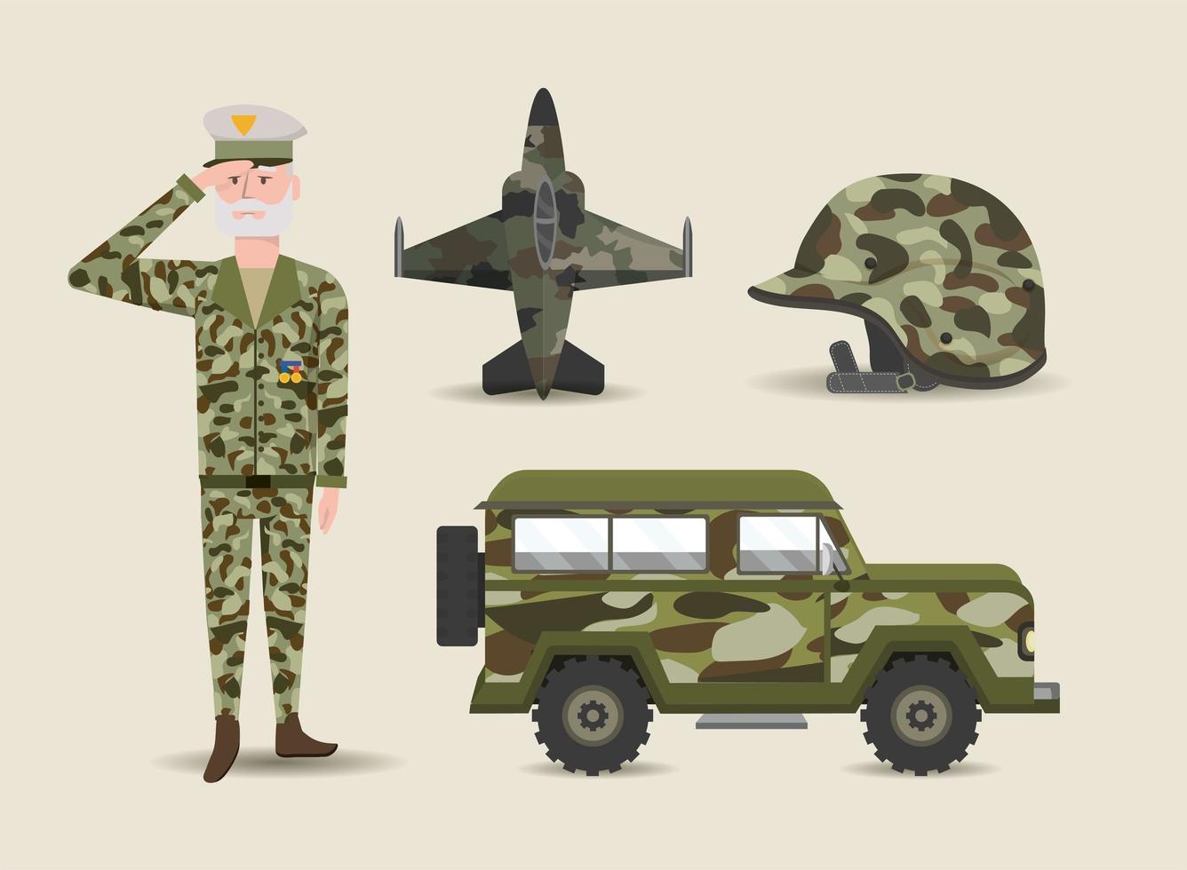 uppsättning soldat- och militär- eller arméföremål vektor
