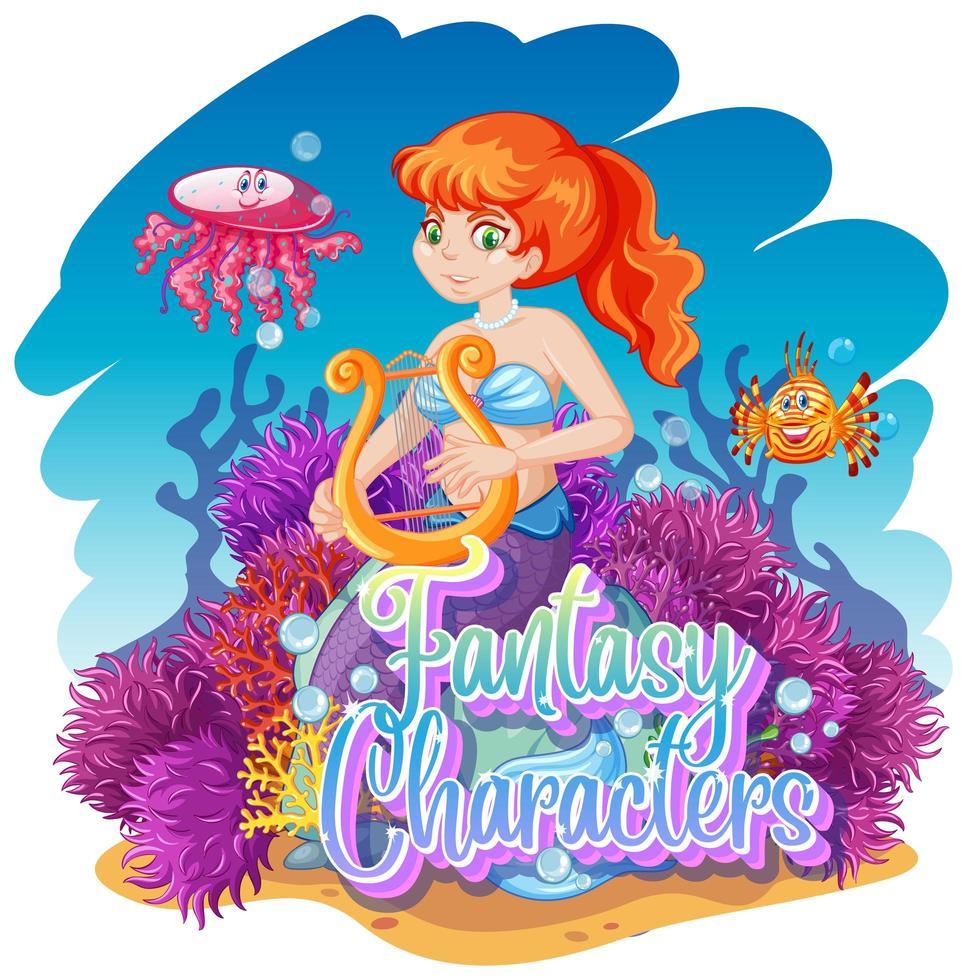 Meerjungfrau im Unterwasserweltdesign vektor