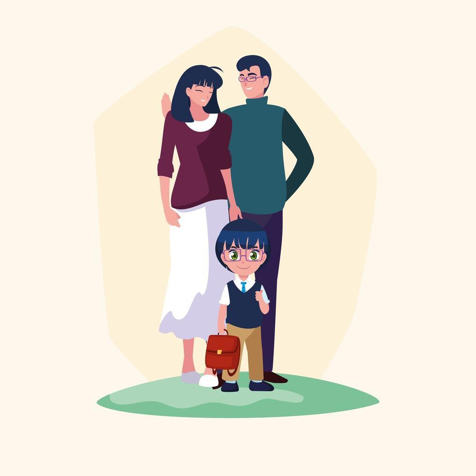 söt liten studentpojke och skolväska med föräldrar vektor
