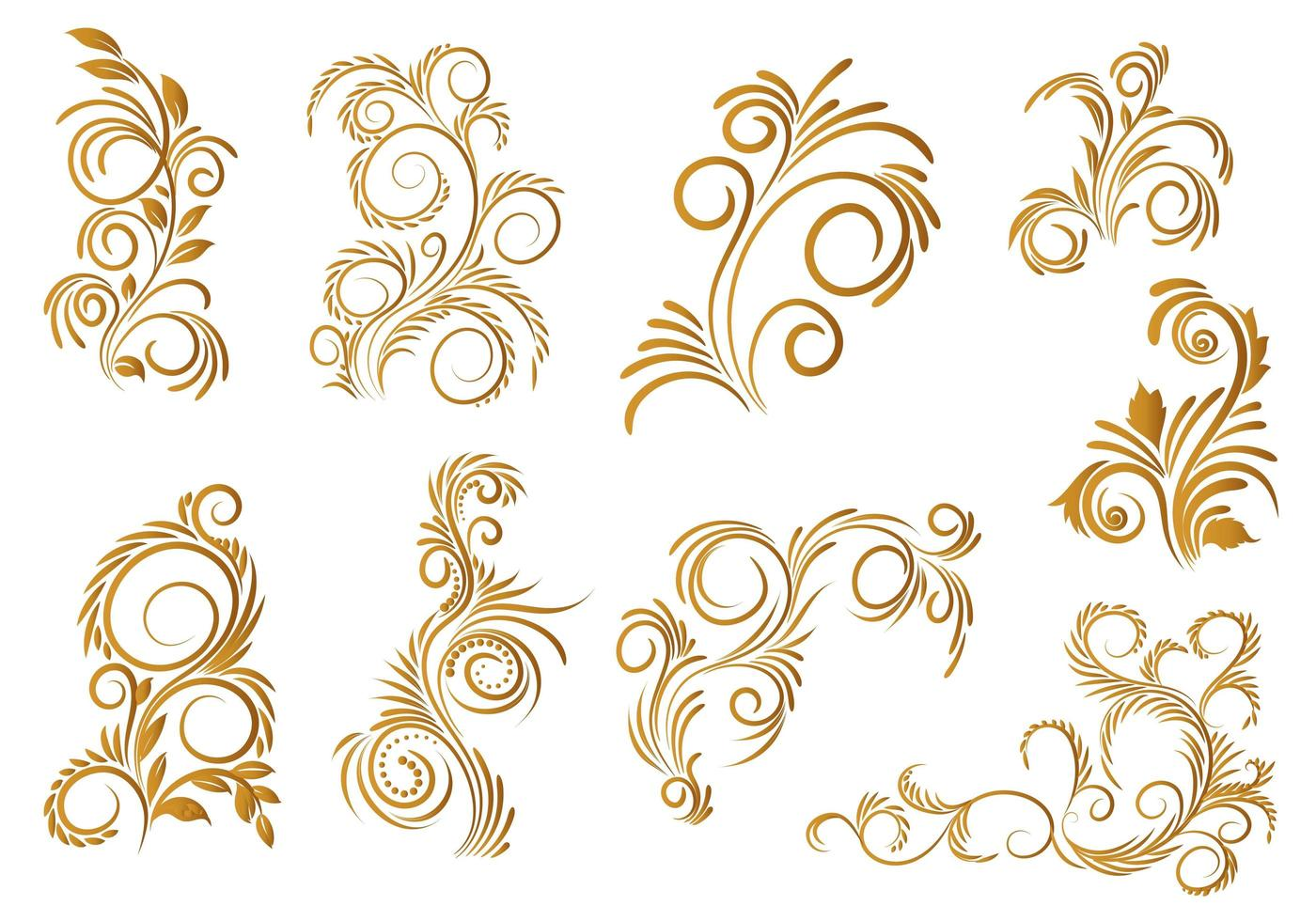 goldenes dekoratives Blumen-Set-Design vektor