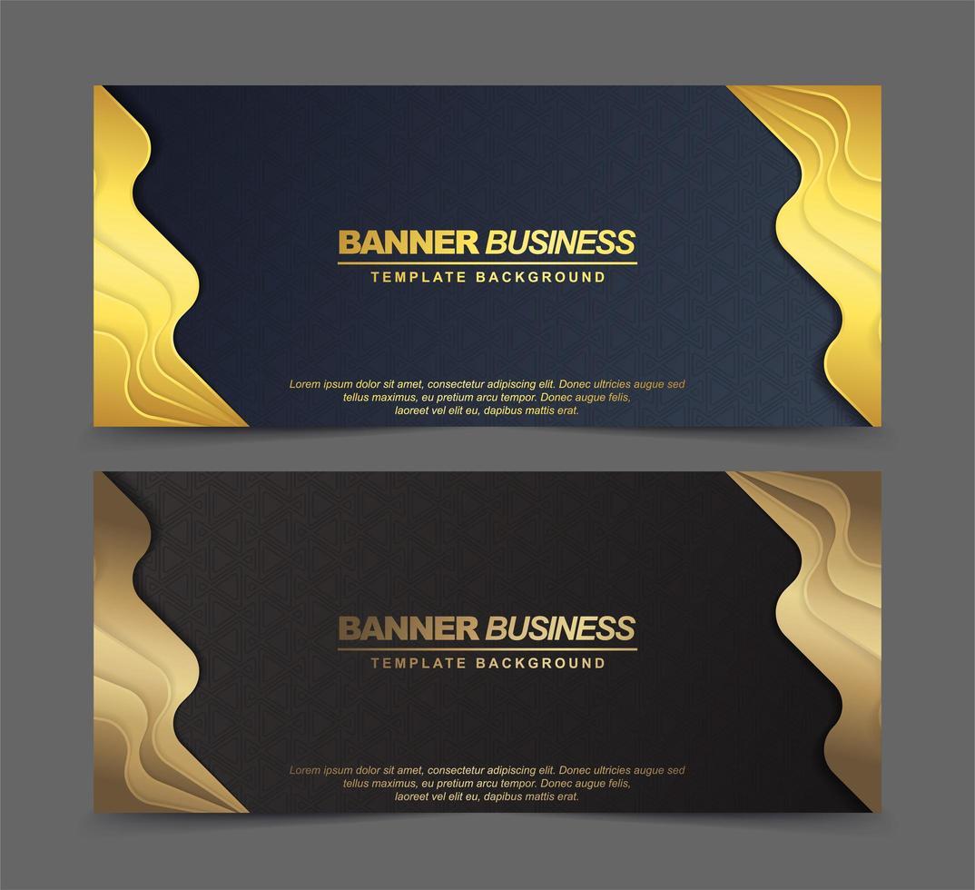 Luxusbanner in Blau und Braun mit goldenen Rändern vektor