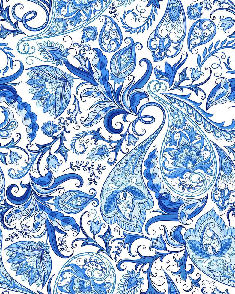 paisley blå vinter prydnad sömlösa mönster vektor