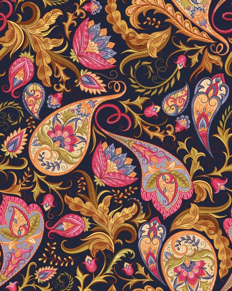 sömlöst paisley-mönster i magenta och guld vektor