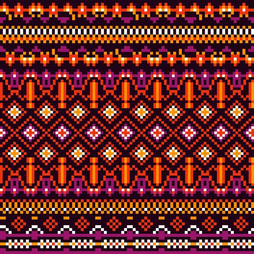 Stammesmuster ethnischer Pixel mit heller Geometrie vektor