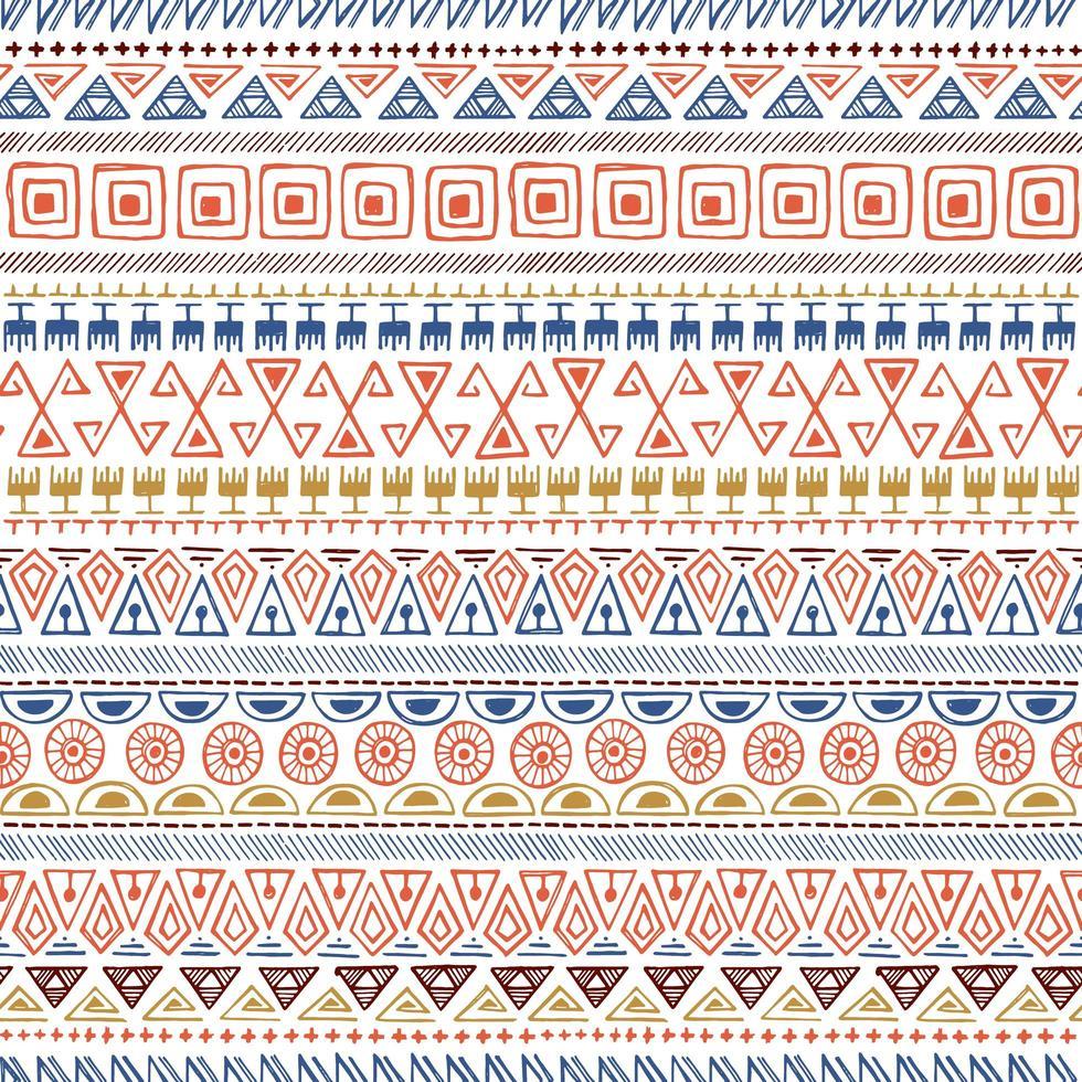 Handgezeichnetes nahtloses Muster des ethnischen Stammes vektor