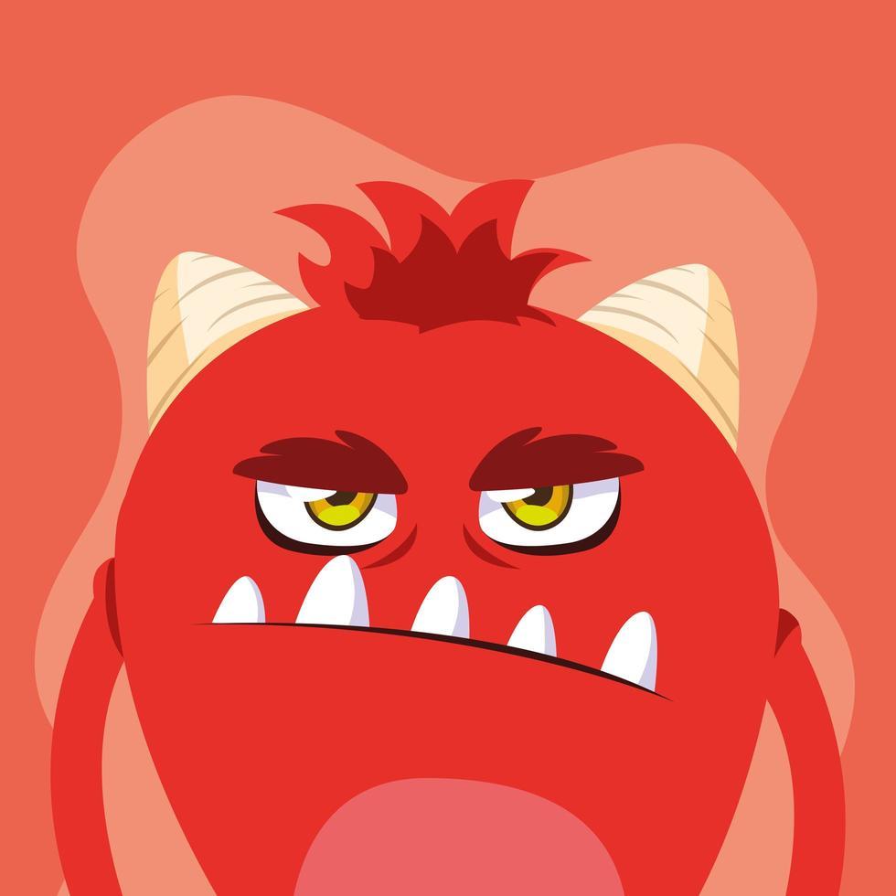 röd monster tecknad designikon vektor