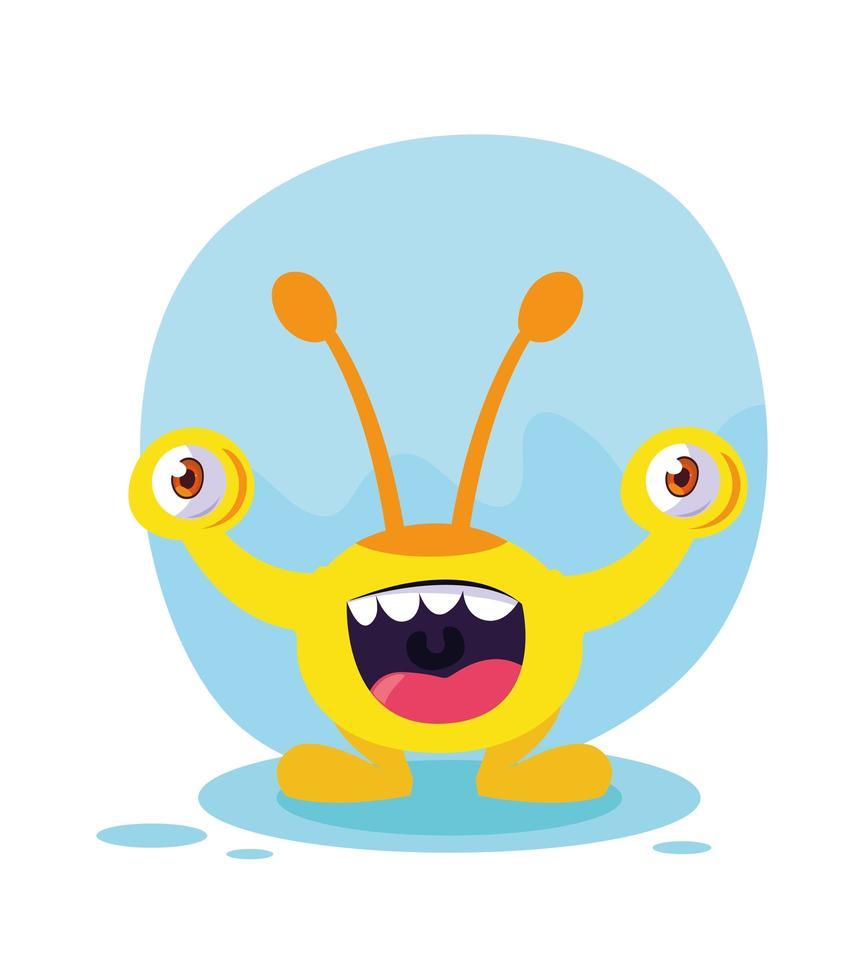 gelbe Monsterkarikaturentwurfsikone vektor