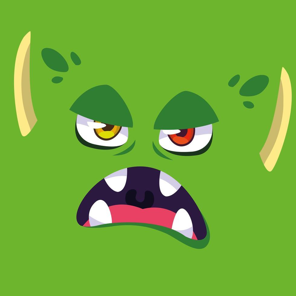 gröna monster tecknad design ikon vektor
