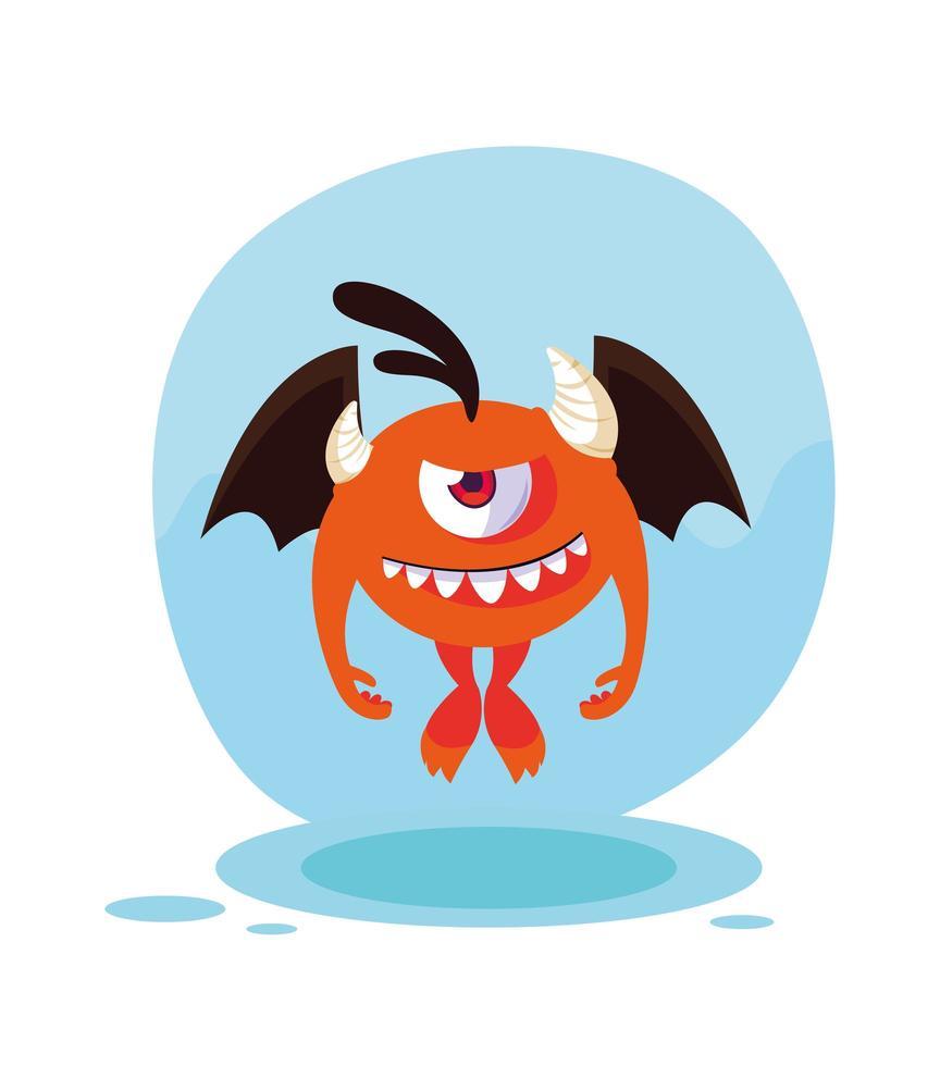 orange monster tecknad designikon vektor