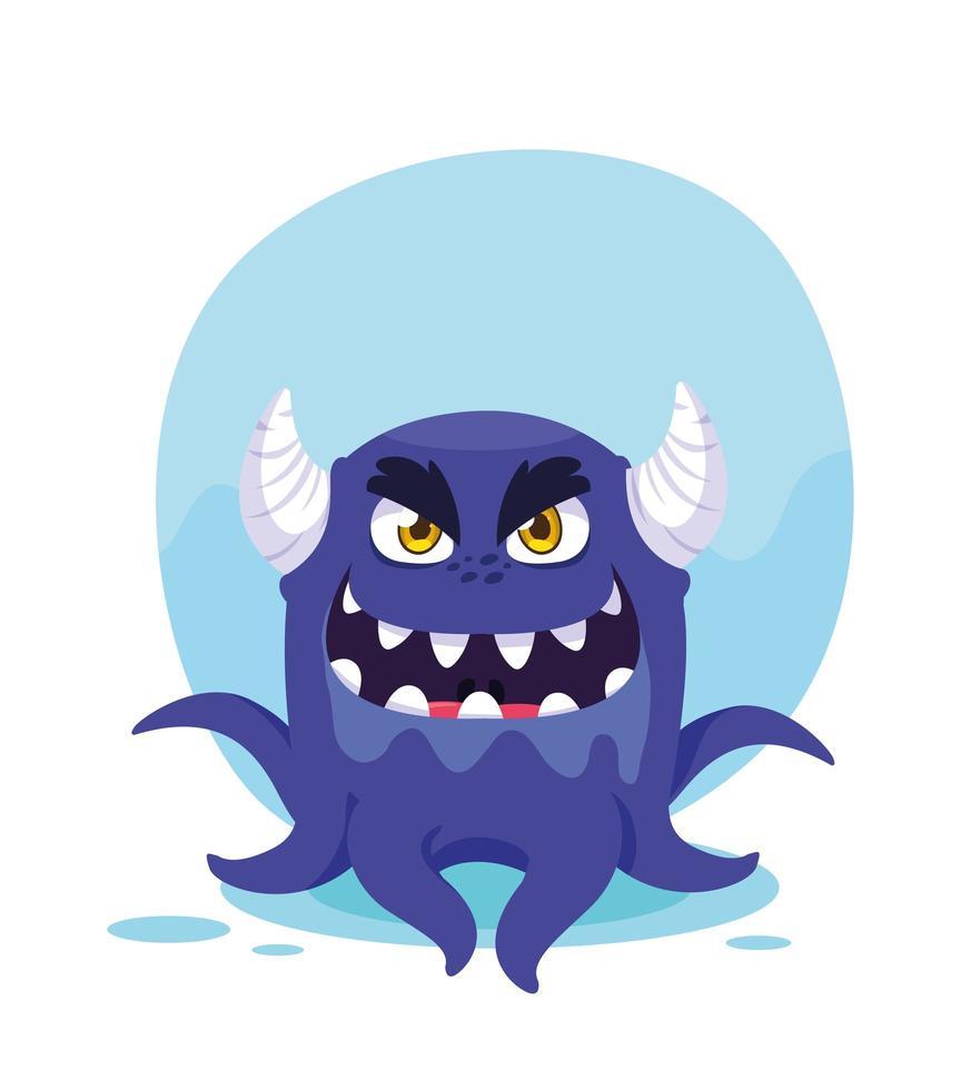 lila monster tecknad designikon vektor