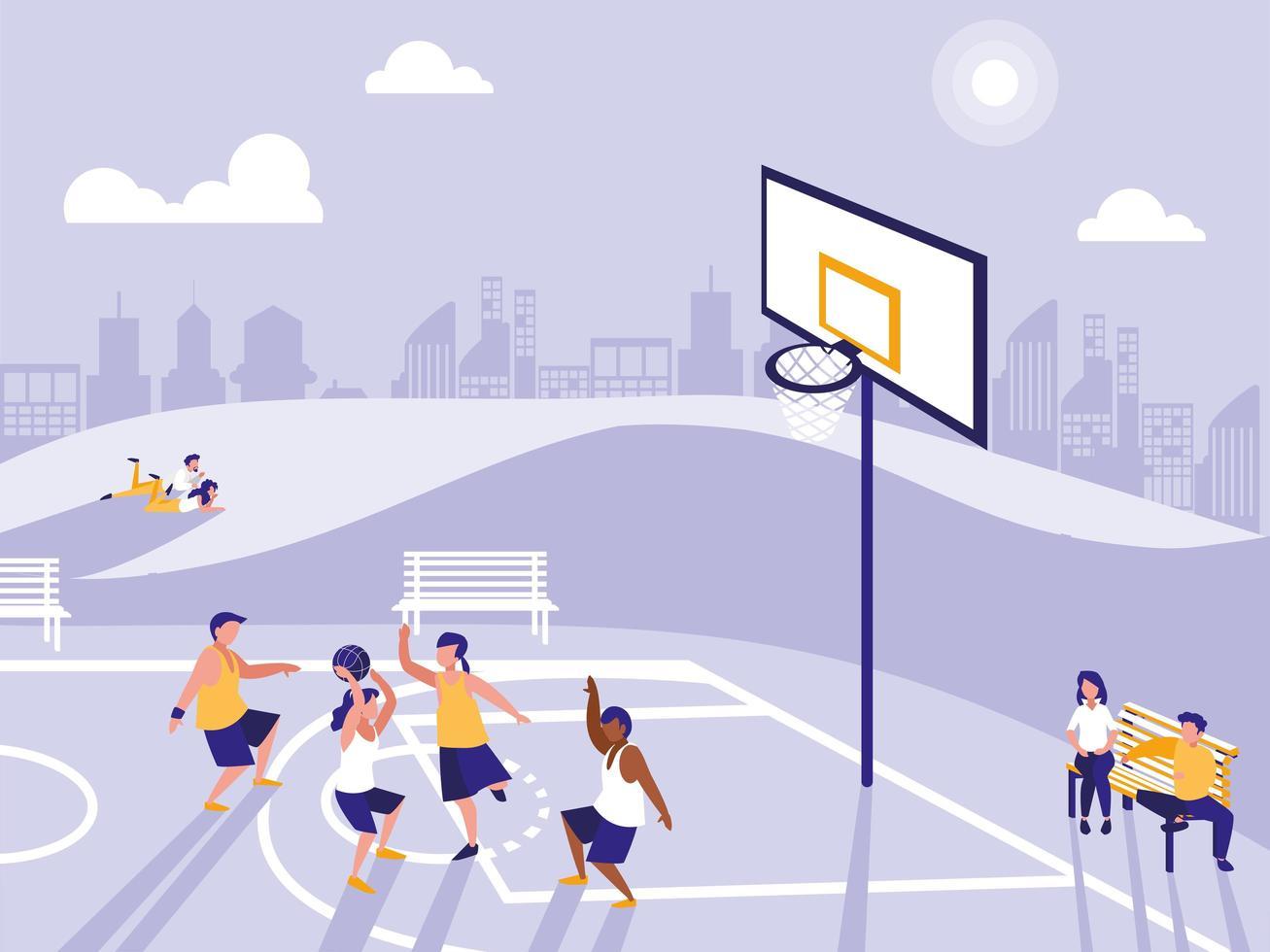 Menschen, die im Basketballfeld Sport treiben vektor