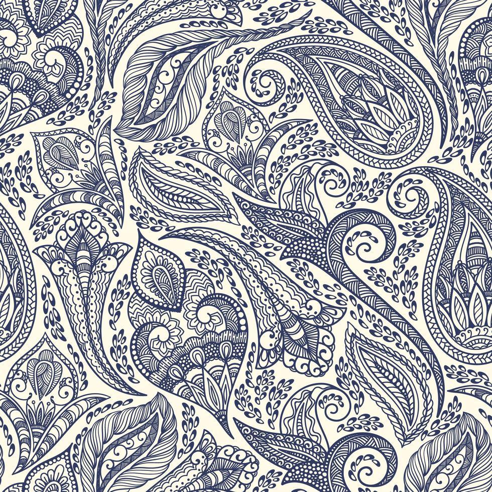 blaues Paisley handgezeichnetes Muster vektor