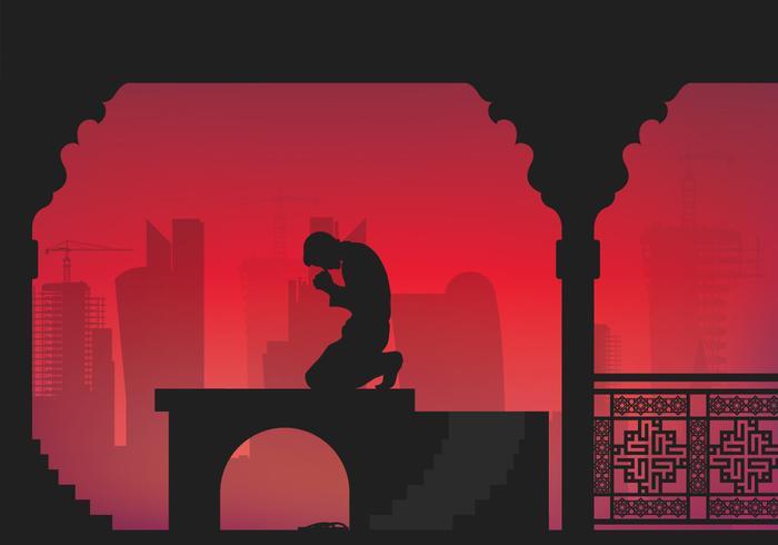 Katar Mann beten Illustration vektor