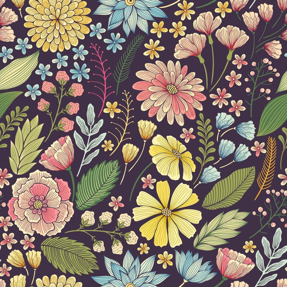 sömlös färgglad blommig sommar mönster vektor