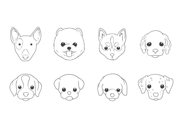 Freie Hand Zeichnung Hund Kopf Vektor