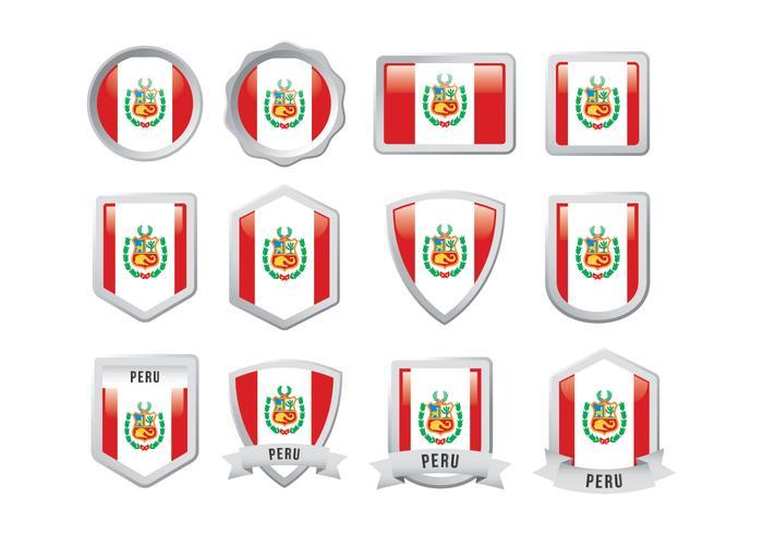 Gratis Peru Flag Badge vektor