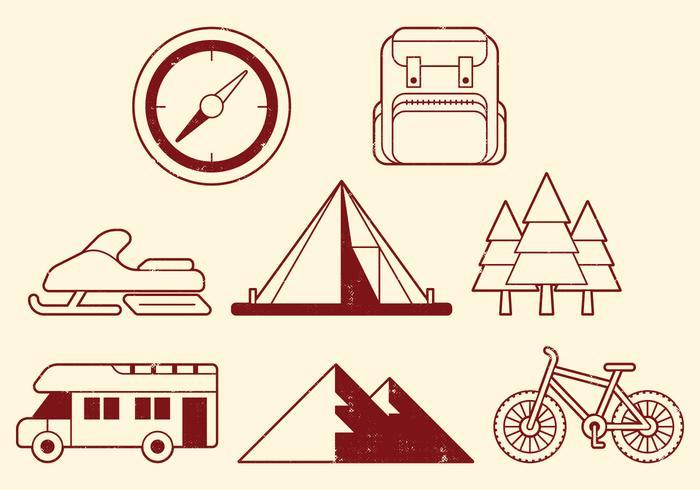 Camping Aktivitäten Icons vektor